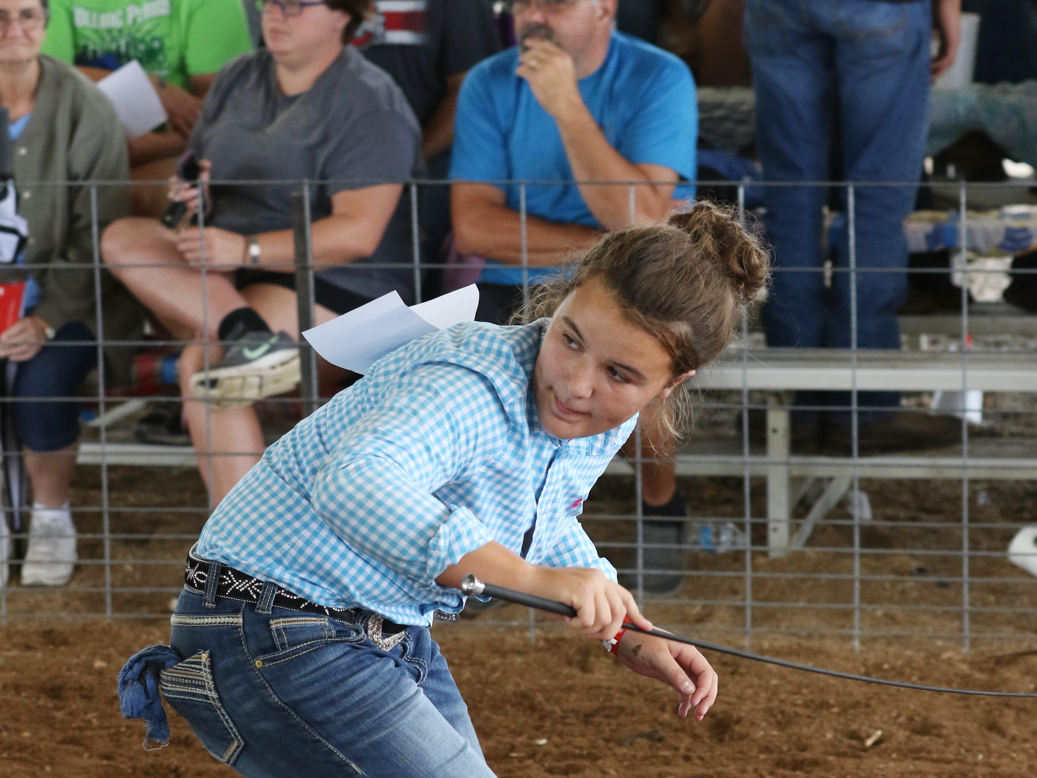 Junior Fair Swine Showmanship at the Muskingum County Fair on Thursday.