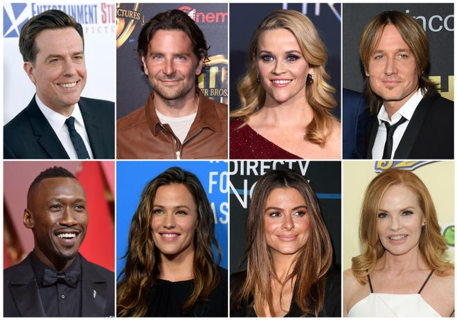 This combination photo shows, top row from left, Ed helms, Bradley Cooper, Reese Witherspoon and Keith Urban, and bottom row from left, Mahershala Ali, Jennifer Garner, Maria Menounos and Marg Helgenberger, who are among the stars joining the sixth Stand Up To Cancer telethon on Sept. 7. Cooper is returning as co-executive producer of the live, hour-long event. (AP Photo) ORG XMIT: NYET400