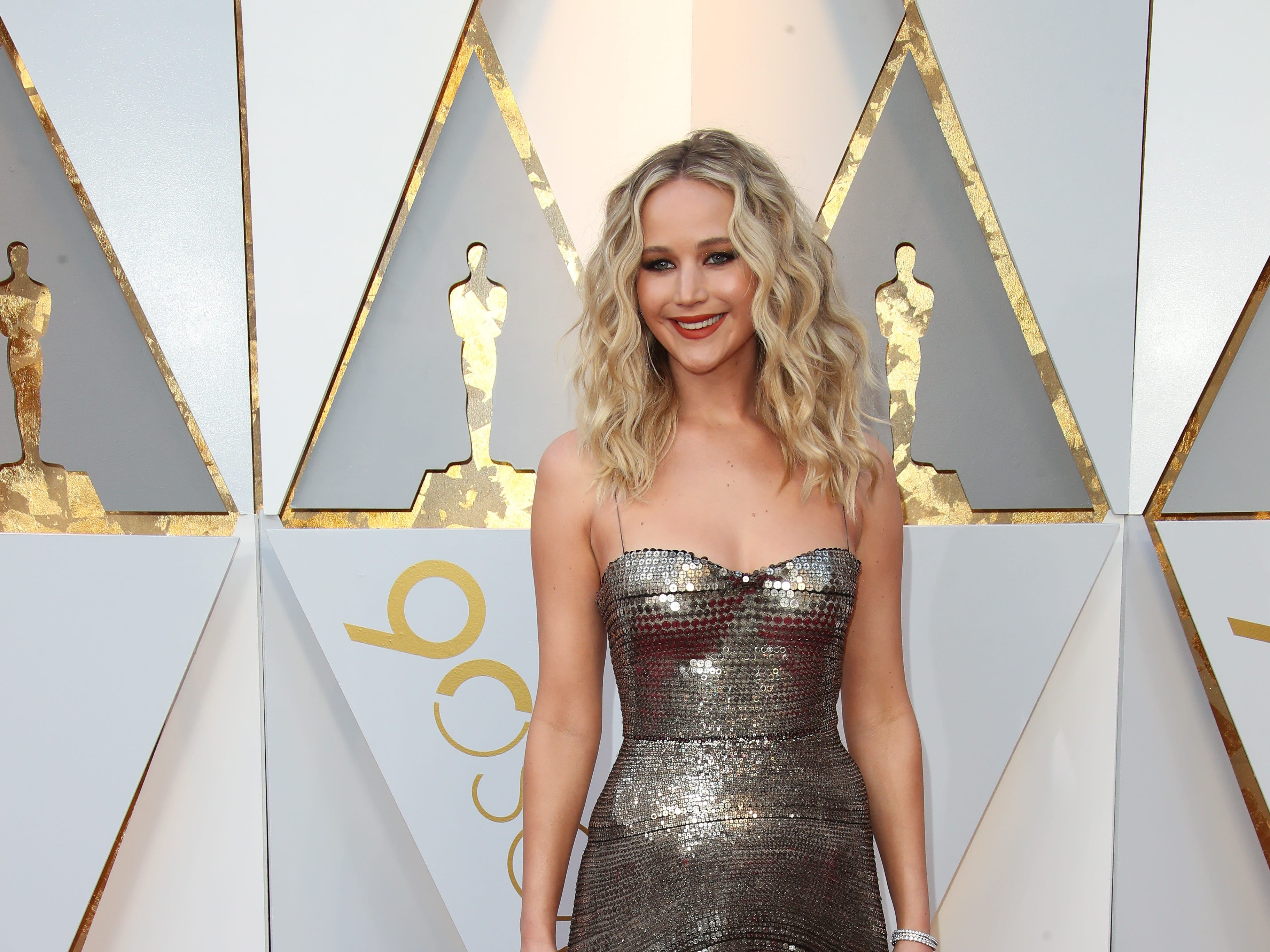 March 4, 2018; Hollywood, CA, USA; Jennifer Lawrence arrives at the 90th Academy Awards at Dolby Theatre. Mandatory Credit: Dan MacMedan-USA TODAY NETWORK (Via OlyDrop)