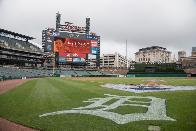 Scoreboard in remembrance of Aretha Franklin at the Comerica Park in downtown Detroit, Thursday, Aug. 16, 2018.