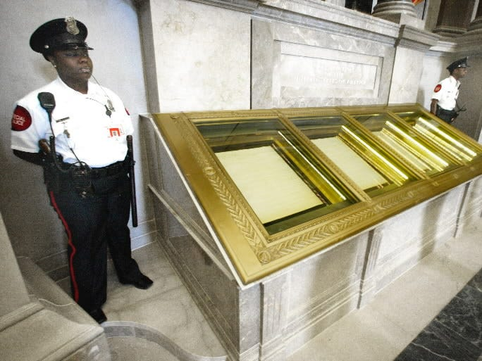 The U.S. Constitution in the National Archives on September 16, 2003.