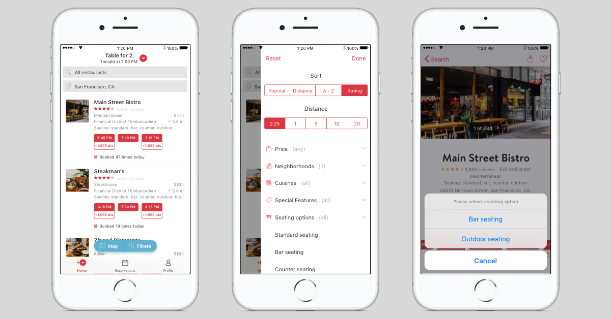 OpenTable now lets diners choose where they will be seated