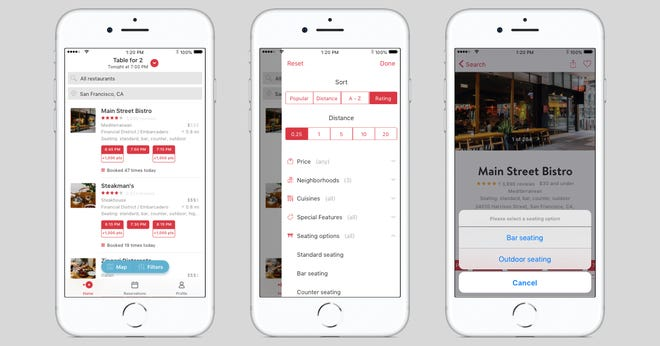OpenTable has introduced Seating Options, which lets diners choose where they will sit at a restaurant.