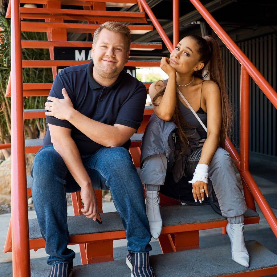 Ariana Grande and James Corden ready to take over the carpool lane.