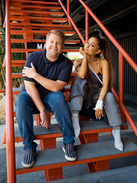 Ariana Grande and James Corden ready to take over the carpool lane.