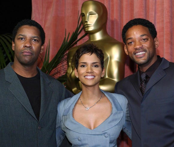 In March 2002, Denzel Washington, Will Smith and Halle Berry all attended the Oscar Nominees Luncheon. (Washington and Berry also wound up winning Oscars that year.)