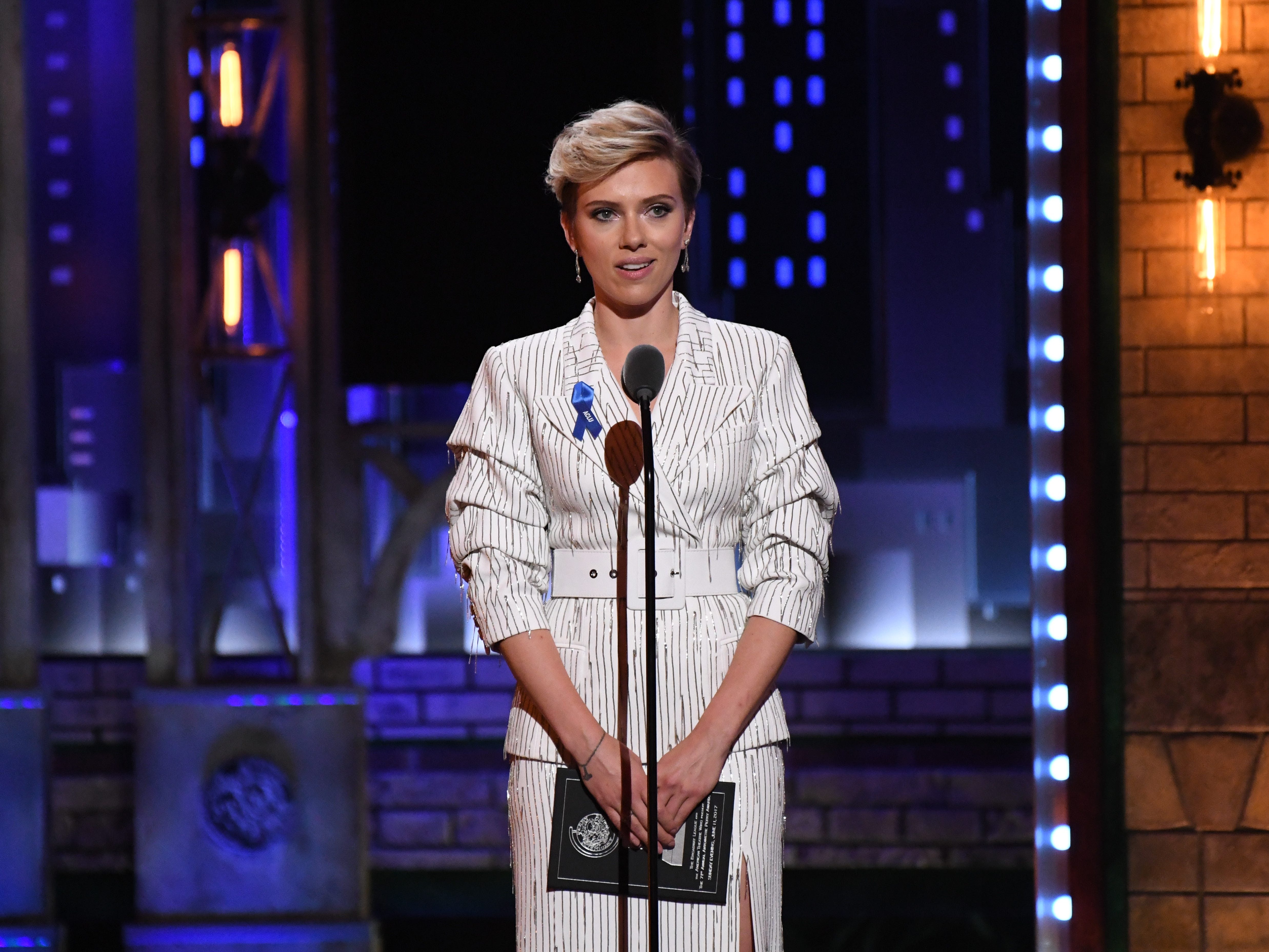 Jun 11, 2017; New York, NY, USA; Scarlett Johansson presents the award for featured actor in a play at the 71st TONY Awards at Radio City Music Hall.  Mandatory Credit: Robert Deutsch-USA TODAY Sports ORG XMIT: USATSI-360390 (Via OlyDrop)