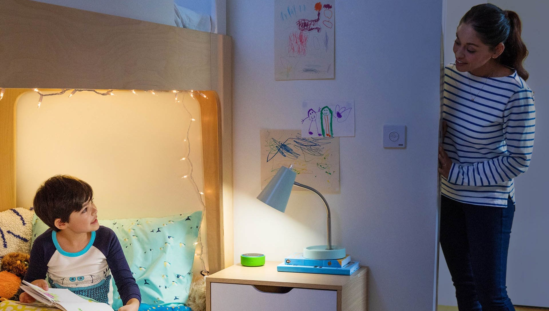 Alexa to the rescue: the Echo can be used in your child's bedroom as an intercom system to talk to them, or Alexa can read to your son or daughter before bed.