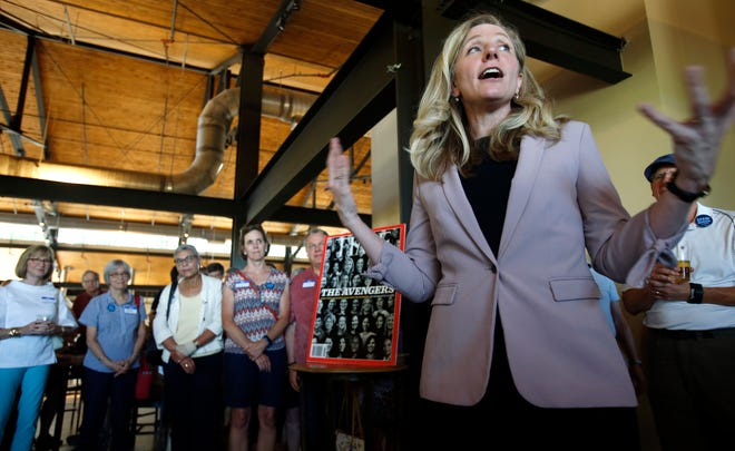 Abigail Spanberger, a former CIA officer and Democratic candidate for Virginia's 7th Congressional District,  speaks to supporters at a rally in Richmond, Virginia, July 18, 2018.