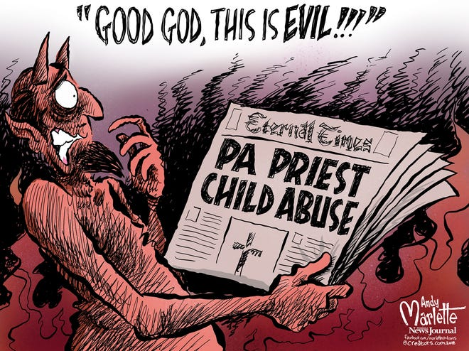 An editorial cartoon in the Pensacola (Fla.) News Journal illustrates the horrifying extent of the sexual abuse detailed in the Pennsylvania grand jury's report.