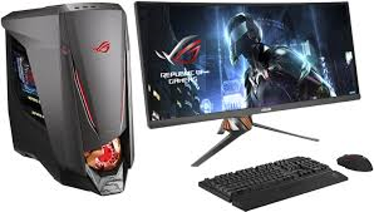 ASUS ROG Desktop: If you're serious about computer gaming, consider a tower PC, like this Republic of Gamers (ROG) setup from ASUS, as it's easier to upgrade components over time.