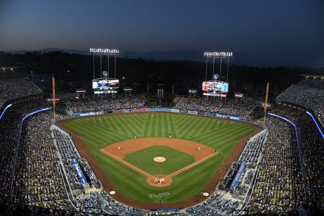 General view of Dodger Stadium.
