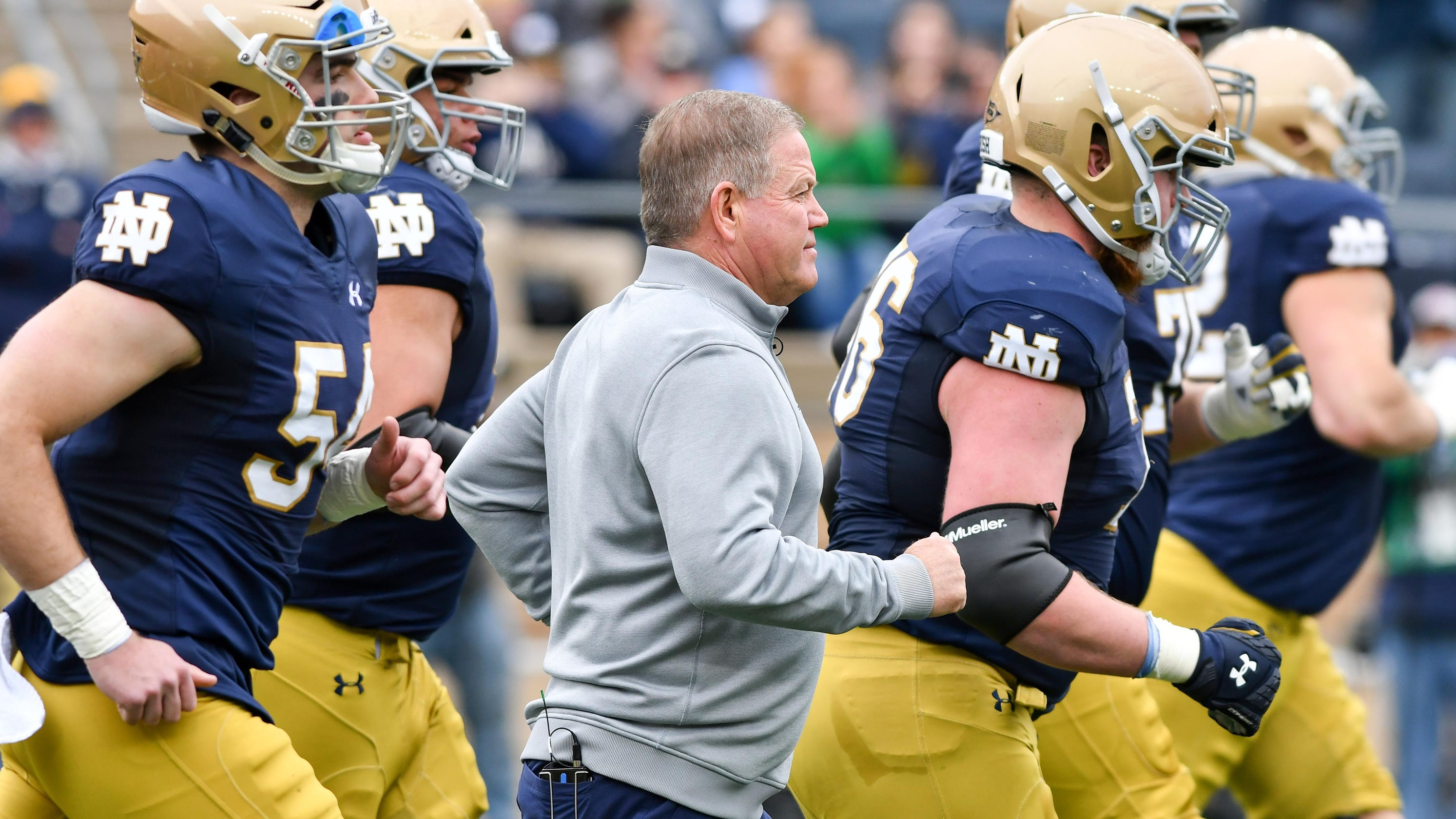 de0f360da Notre Dame football uniforms give nod to New York Yankees for Shamrock  Series