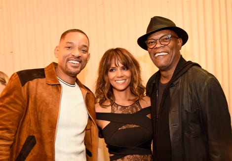 Here, Will Smith poses with Halle Berry and Samuel L. Jackson at the 2016 MTV Movie Awards.