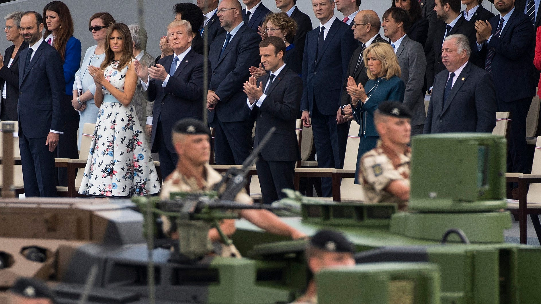Tanks parade past President Donald Trump, first lady Melania Trump, French President Emmanuel Macron and his wife Brigitte Macron, during Bastille Day parade on the Champs Elysees avenue in Paris,  July 14, 2017.