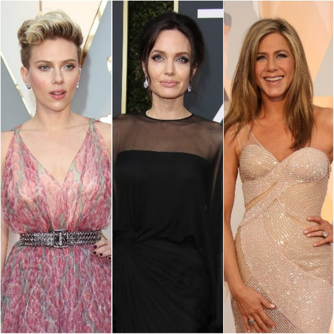 Scarlett Johansson, Angelina Jolie and Jennifer Aniston top the Forbes list of highest-paid actresses in the world.