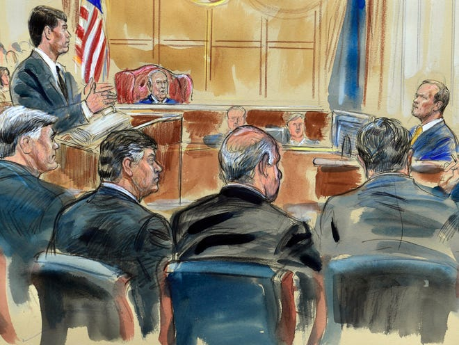 This courtroom sketch depicts Rick Gates, right, answering questions by prosecutor Greg Andres as he testifies in the trial of Paul Manafort, seated second from left, at the Alexandria Federal Courthouse in Alexandria, Va., Aug. 6, 2018.