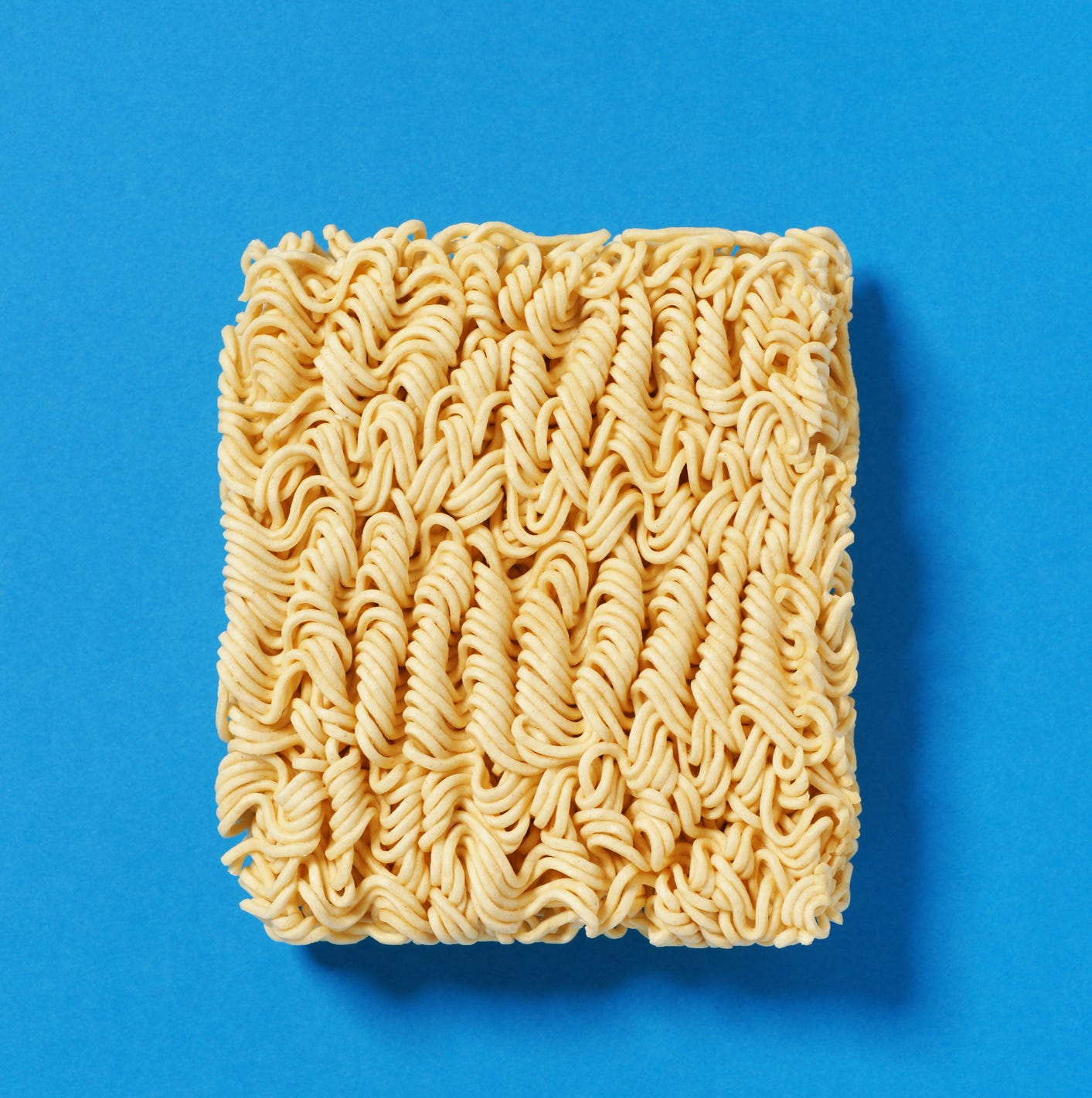 Block of instant ramen noodles.