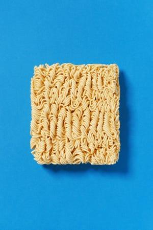 Block of instant ramen noodles.