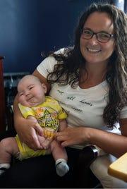 Kara Boulter holding 6-month-old son Nolan.