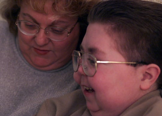 A 2000 photo of Linda Gillick with her son Michael, who has neuroblastoma.