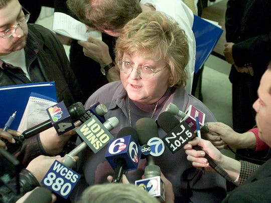 Linda Gillick speaks to the press after a 2001 news conference at the Ocean County Health Department.