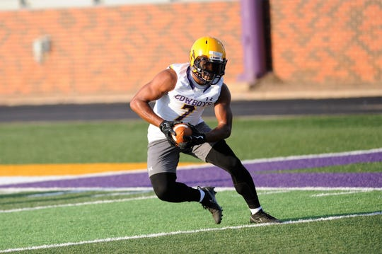 Hardin-Simmons receiver Alex Bell turns up field after making a catch during the Cowboys' first 2018 fall practice. Bell returned to the field this season after being granted a medical hardship waiver due to an ACL tear in the third game of the 2017 season.