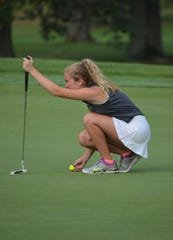 Lakeview's Maddie Yorke lines up a putt during action at the Gull Lake Invitational this week.