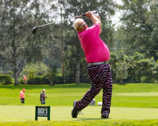 John Daly tees off during the first round of the 2018 Dick's Sporting Goods Open.