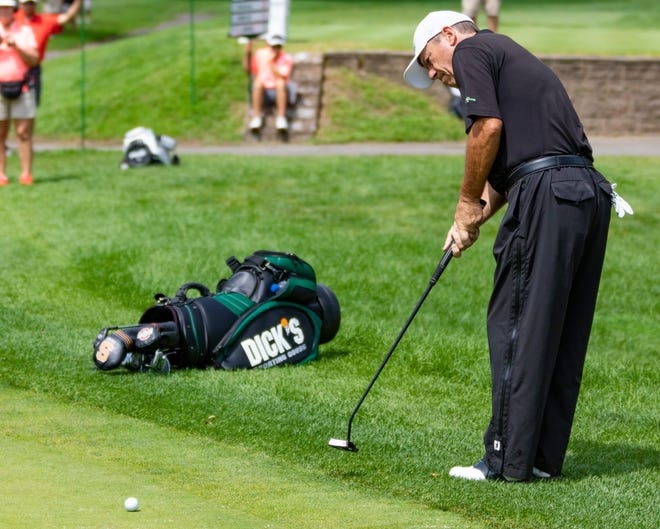 Local fan favorite and Horseheads resident Joey Sindelar putts on No. 7 at the Dick's Sporting Goods Open on Friday.