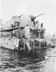 20 August 1943 - General view of mine damage to USS ABNER READ upon arrival Adak.