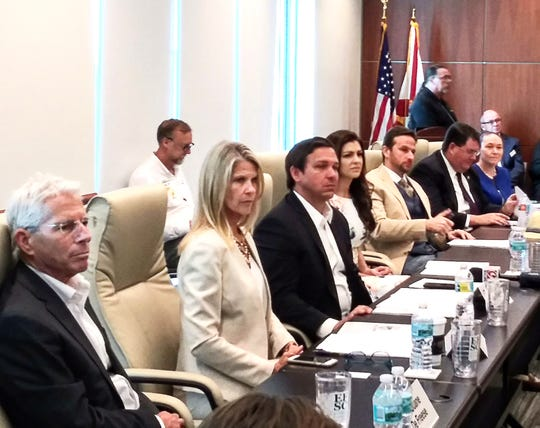 Among the participants at the Indian River Lagoon roundtable discussion were, from left, Duane DeFreese, executive director of the Indian River Lagoon National Estuary Program; Florida Sen. Debbie Mayfield; U.S. Rep. Ron DeSantis, a candidate for governor; Casey DeSantis, the congressman's wife; Brevard County Commissioner John Tobia; Florida Rep. Randy Fine; and Virginia Barker, director of Brevard County's Natural Resources Management Department.