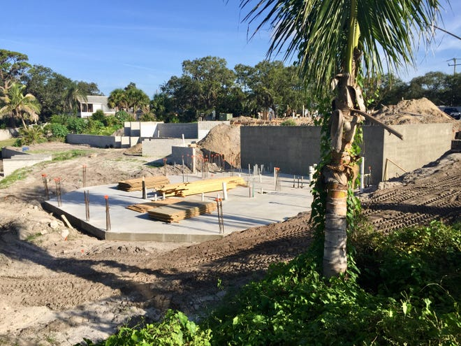 Crews are doing concrete work at the old Eau Gallie River Crab House site on U.S. 1.