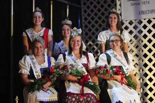 The queens from the 2017 and 2018 Bucyrus Bratwurst Festivals were all smiles Thursday evening.