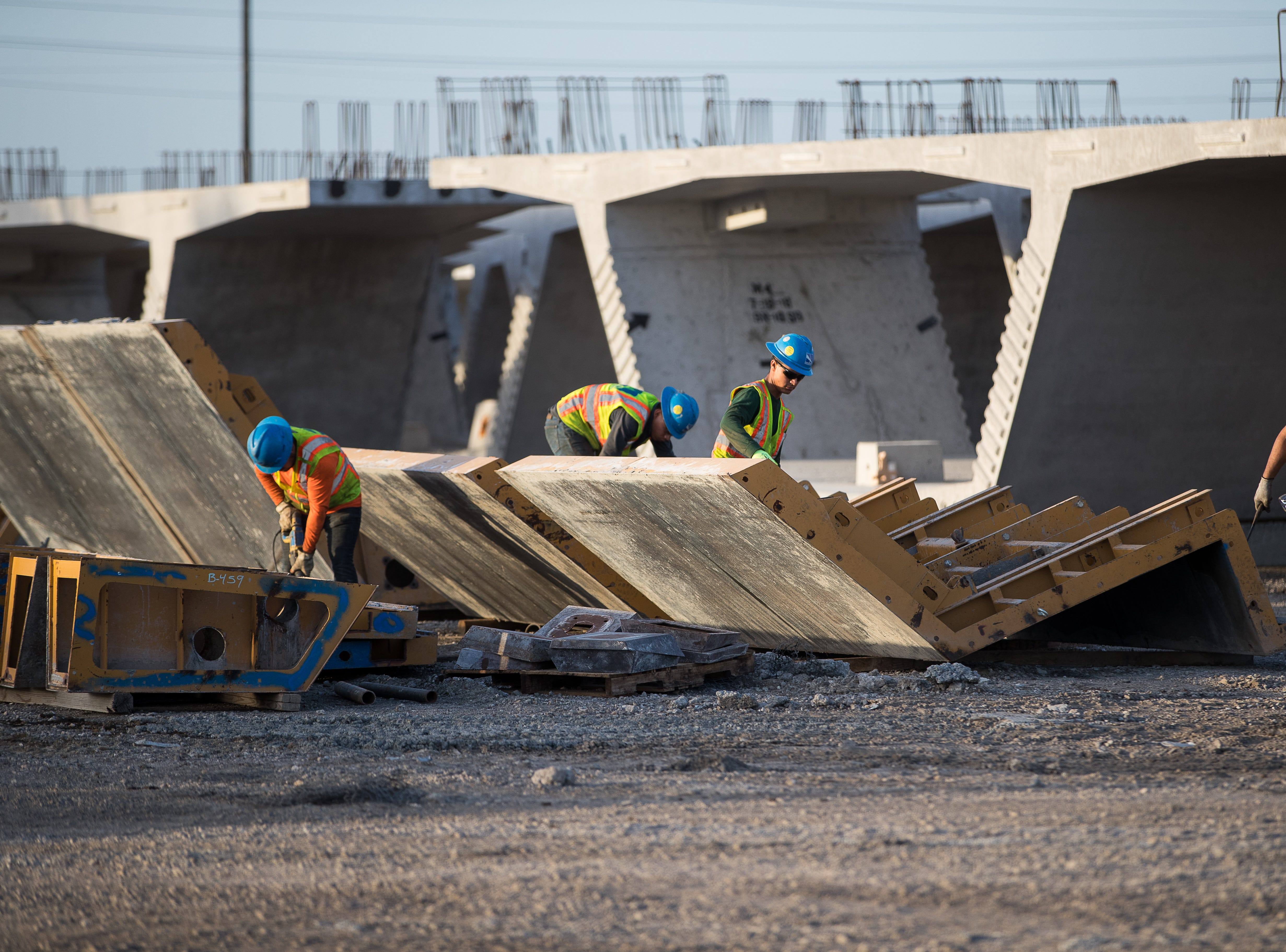 Crews work at the Flatiron-Dragados's pre-cast yard in Robstown for the Harbor Bridge replacement project in Corpus Christi on Wednesday, Aug. 15, 2018.