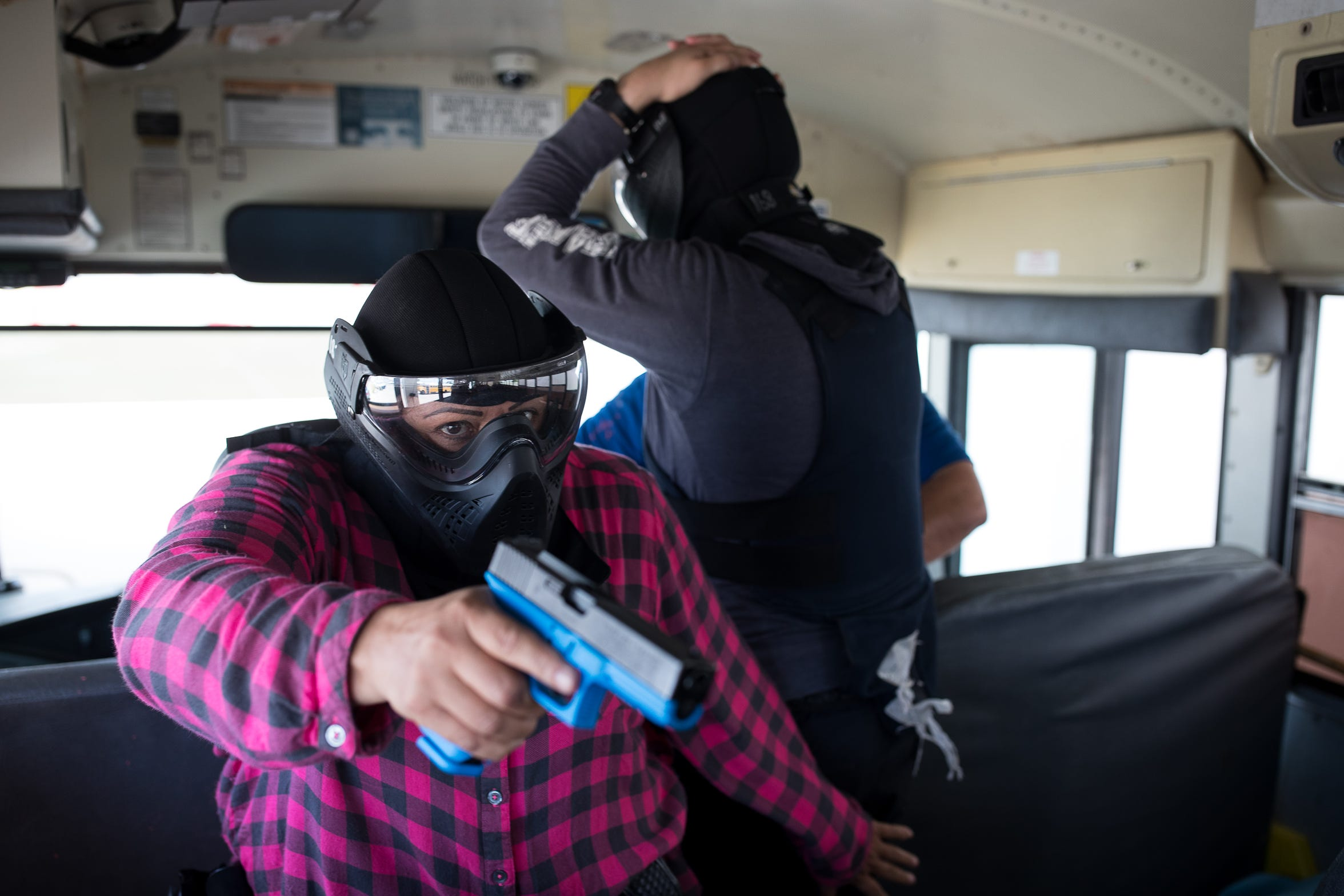 A Corpus Christi independent school district police officers orders people off a school bus during active-shooter training two weeks before school starts.