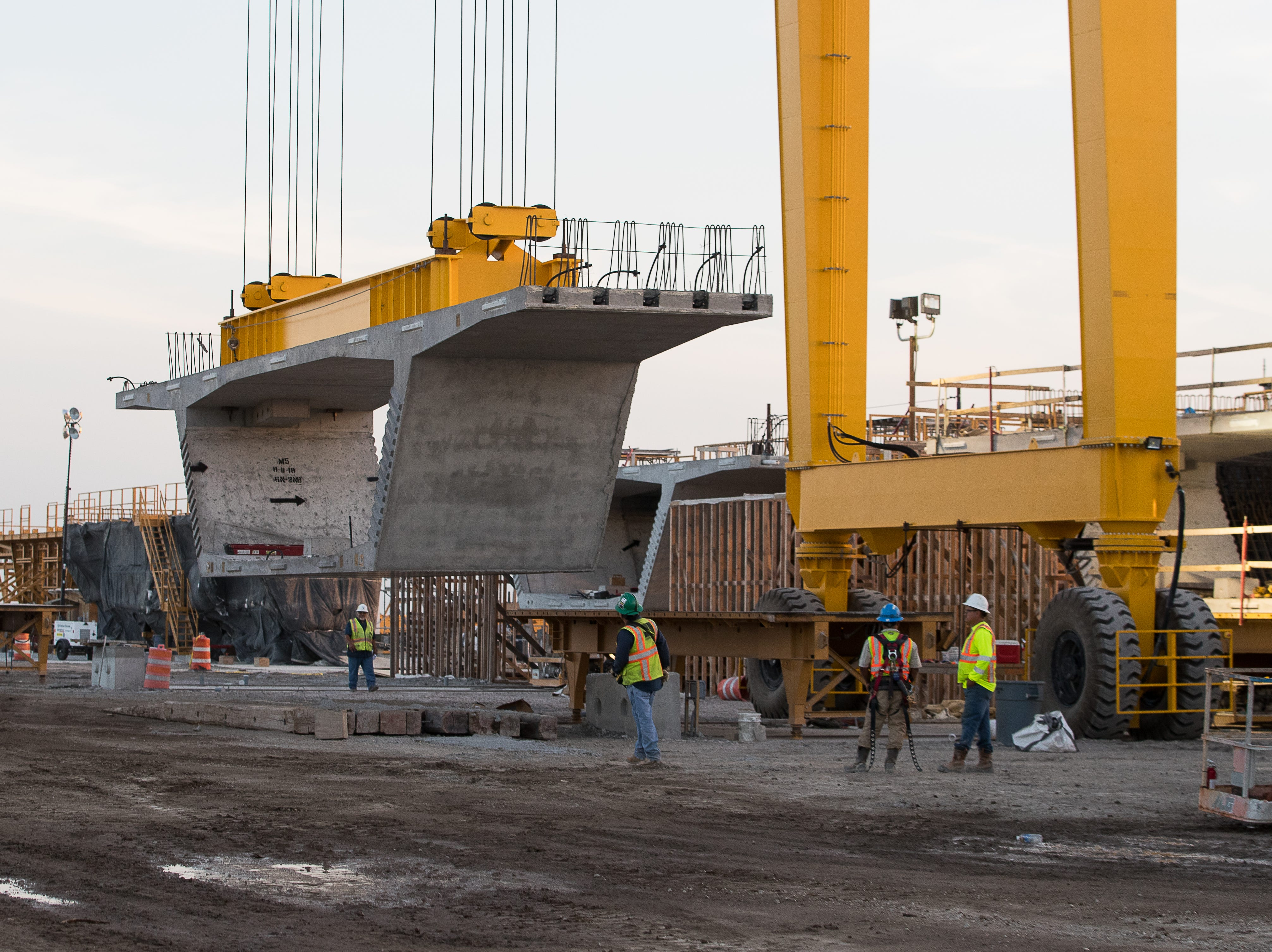 A concrete cast is moved at the Flatiron-Dragados's pre-cast yard in Robstown for the Harbor Bridge replacement project in Corpus Christi on Wednesday, Aug. 15, 2018.