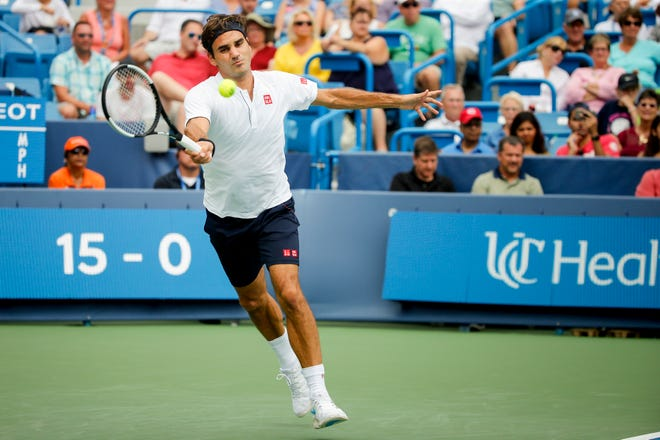 Roger Federer of Switzerland returns a shot from Leonardo Mayer of Argentina on the Center court at the Western & Southern Open Friday, August 17, 2018 at the Lindner Family Tennis Center in Mason, Ohio.