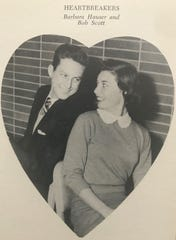 "One out of 9 couples married within the class of '58, including ""HEARTBREAKERS"" Bob Scott and Barbara Hauser"