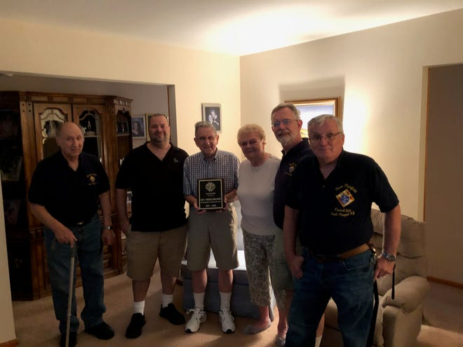 (Left to right) Ted Rubino, Past Grand Knight Joe McGeehan, Joe and Theresa Bielinski, Current Grand Knight Joe Wilkowski and Phil Thomas.