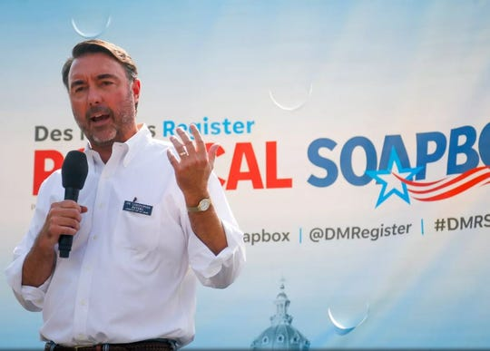 Christopher Peters, a Republican candidate for Iowa's 2nd Congressional District, speaks Friday at the Des Moines Register Political Soapbox.