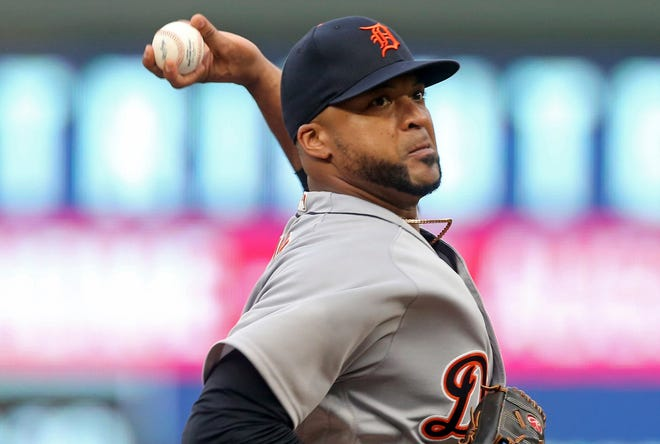 Detroit Tigers pitcher Francisco Liriano throws to a Minnesota Twins batter during the first inning of a baseball game Thursday, Aug. 16, 2018, in Minneapolis.