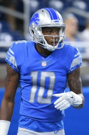 Detroit Lions wide receiver Teo Redding (10) looks on before a game against the New York Giants at Ford Field on Aug 17, 2018.