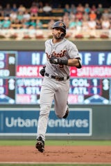 Aug 16, 2018; Minneapolis, MN, USA; Detroit Tigers right fielder Nicholas Castellanos (9) rounds second base after hitting a two run home run during the first inning against the Minnesota Twins at Target Field. Mandatory Credit: Jordan Johnson-USA TODAY Sports