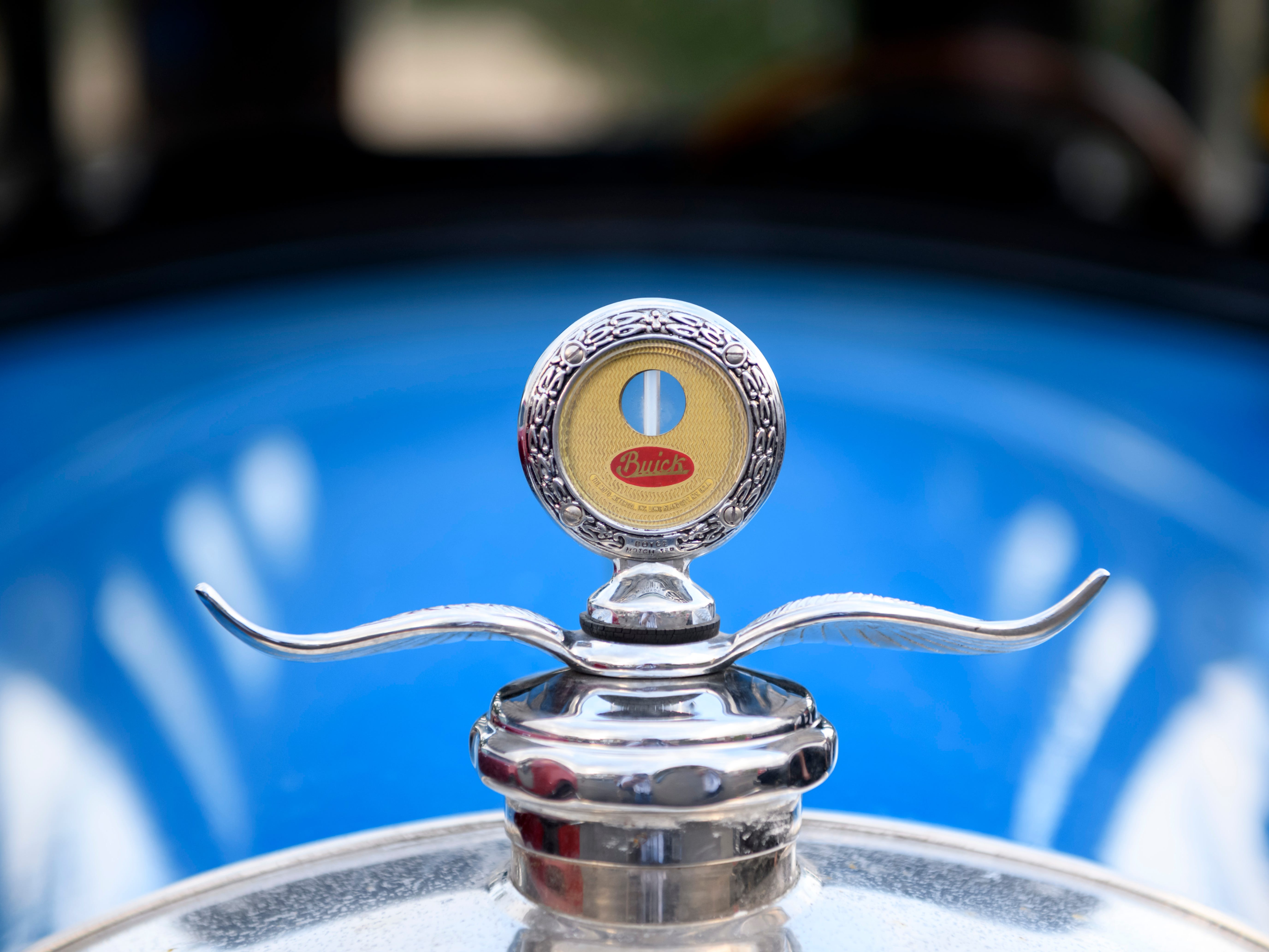 The hood ornament for a 1927 Buick Standard owned by Rusty Berg of Highland in Royal Oak, Aug. 16, 2018.