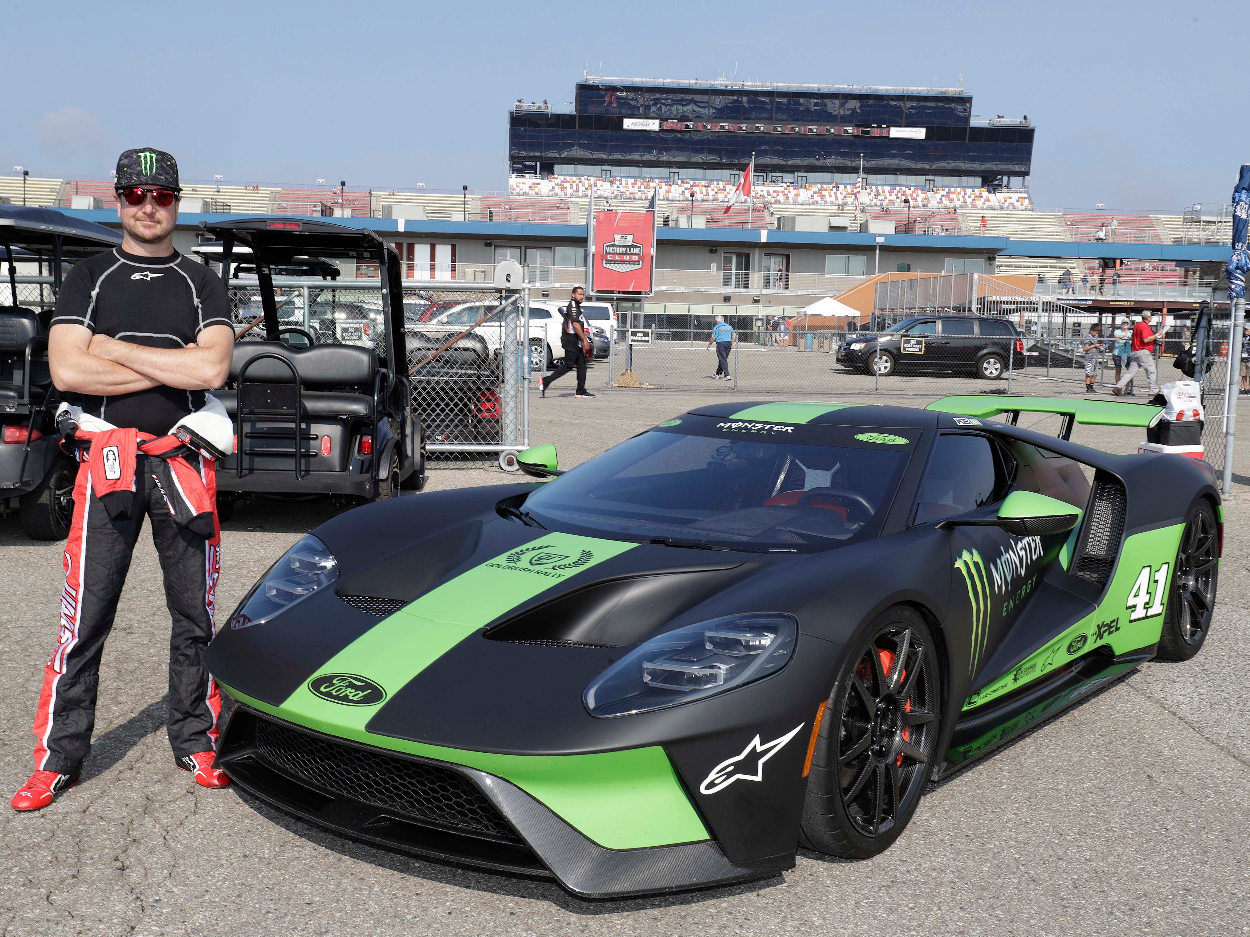 Kurt Busch with his new toy, a 2018 Ford GT, at Michigan International Speedway, August 11. Busch can't stay for the Woodward Dream Cruise - but his car will be on display at Duggan's restaurant north of 13 Mile.