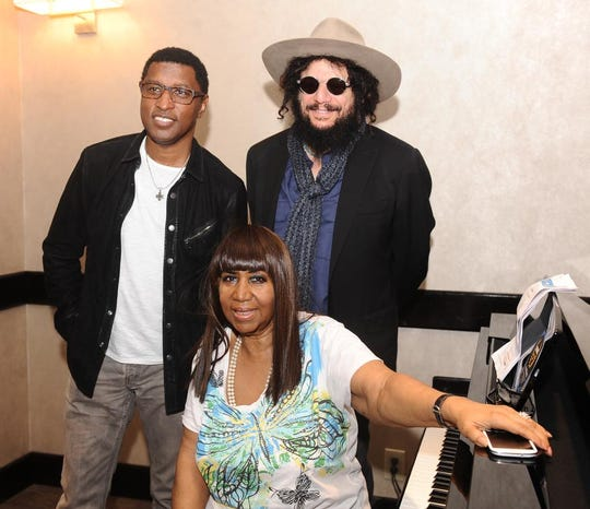 Aretha Franklin and record producers Don Was, right, and Babyface at the Westin Southfield in 2013, after the singer performed for a small group.