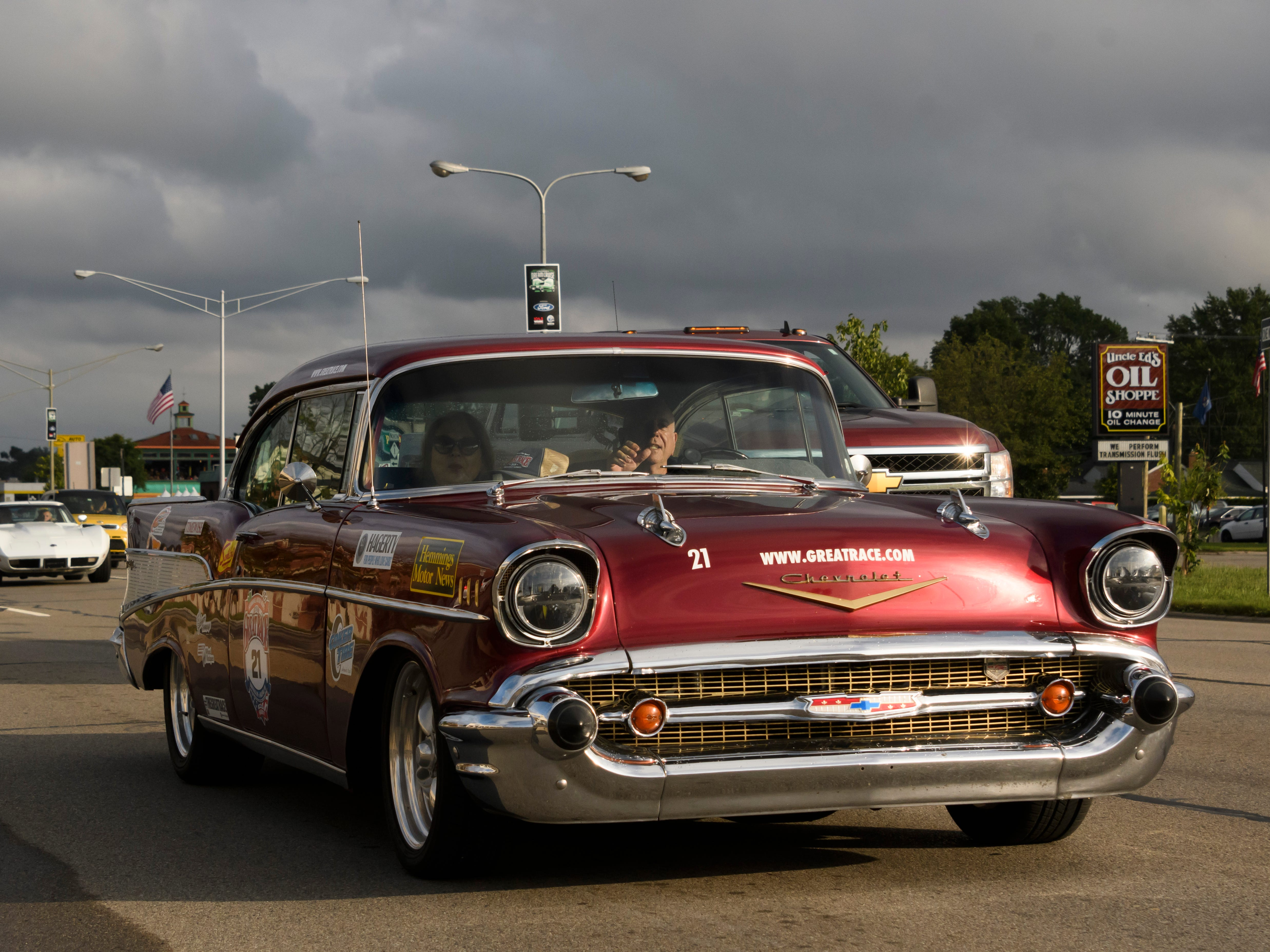 A Chevrolet Bel Air makes its way along Woodward near Normandy Thursday in Royal Oak in preparation for the Dream Cruise.