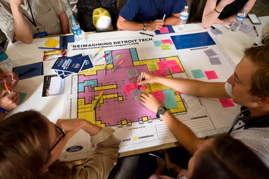 Sticky notes and building blueprints act as tools for young entrepreneurs brainstorming ideas.