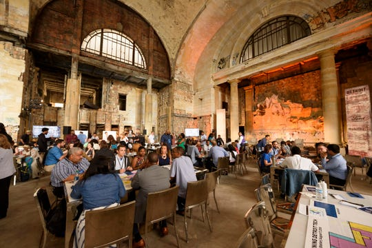 Young entrepreneurs brainstorming ideas Friday for how Ford should develop the Michigan Central Depot train station into an enticing workspace.